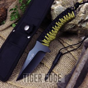 Survivor Clip-Point Full Tang Black, Tan Paracord Fixed-Blade Knife W/ Flint