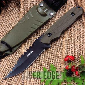 Survivor Army Green Fixed-Blade Full Tang Survival Knife W/ Hard Sheath