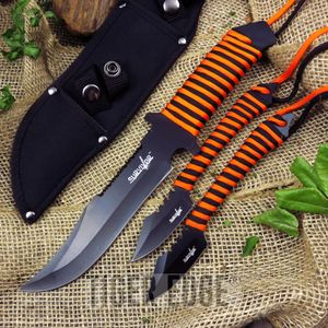 Throwing Knife Set Survivor Orange Black 3-Piece Survival Ninja Tactical Hk-787