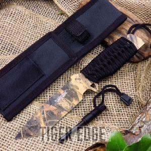 Fixed Blade Knife Survivor Camo Hunting Knife Firestarter Camp Tactical Hk-797