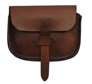 Medieval Belt Bag | Genuine Leather Box Brown Strap Sporran Pouch Hs-4417