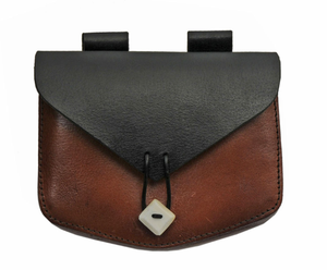 Medieval Belt Bag | Genuine Leather Box Bone Button Black Sporran Pouch HS-4418