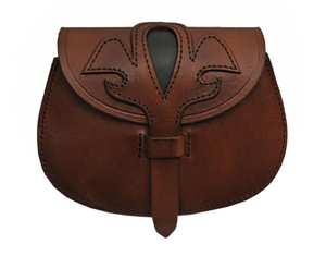 Medieval Belt Bag | Genuine Leather Box Brown Black Fleur Sporran Pouch Hs-4419