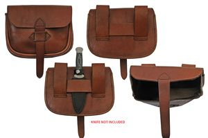 Medieval Belt Bag | Brown Real Leather Day Sporran Pouch with Knife Holster