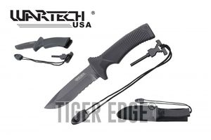 Survival Knife | Wartech Black Serrated Blade 10