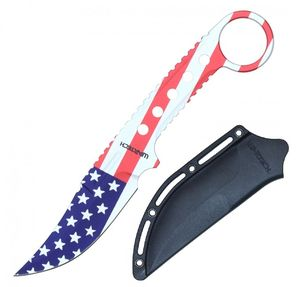 Tactical Knife | Wartech USA American Flag Clip Point Blade + Slim Hard Sheath
