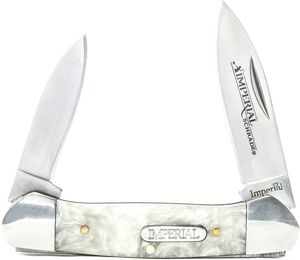 Folding Knife | Schrade Imperial Classic 2-Blade Small Canoe White Ice Silver