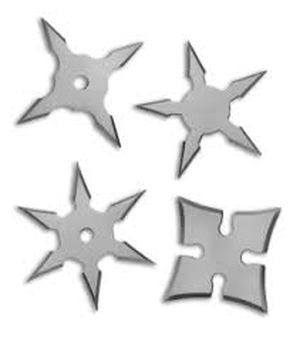 Small Silver Throwing Star Set 4-Piece Pack Ninja Samurai Shuriken