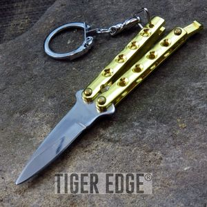 BUTTERFLY KNIFE KEYCHAIN | Mini Gold Functional Balisong Key Ring