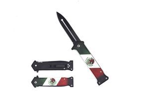 Spring-Assist Folding Pocket Knife | Mexican Flag Black Stiletto Blade EDC