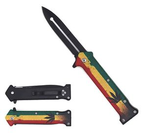 Spring-Assist Folding Knife Cannabis Marijuana Rastafarian 420 Stiletto Blade