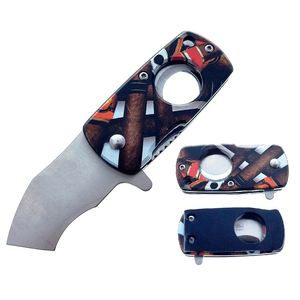 Spring-Assist Folding Knife | Cigar Cutter Money Clip Pocket Folder KS-33217-CG