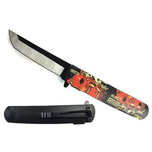 Spring-Assist Folding Knife | Traditional Japanese Red Oni Demon Tanto KS-61261