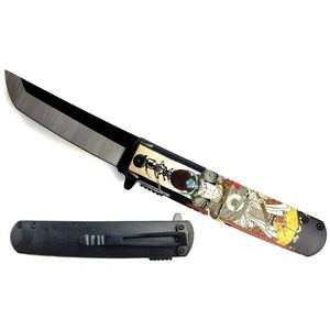 Spring-Assist Folding Knife | Yellow Japanese Samurai Tanto Pocket Gift KS-61261