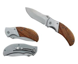 Spring-Assist Folding Knife | Brown Wood Handle Stainless Steel Blade EDC Hunter
