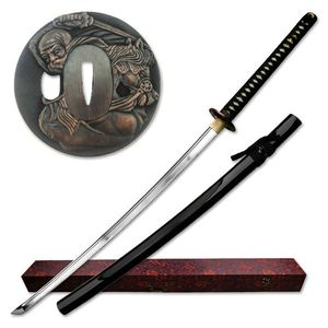 Hand-Forged Carbon Steel Black Scabbard Japanese Samurai Sword w/ Box