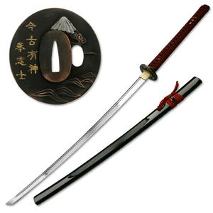 Hand-Forged Carbon Steel Black Scabbard Japanese Samurai Sword w/ Stand