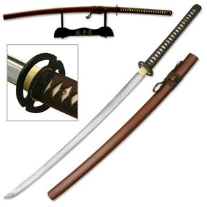 Hand-Forged Carbon Steel Brown Scabbard Japanese Samurai Sword W/ Stand
