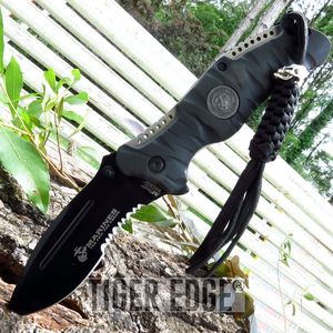 Usmc Marines Black Serrated Tactical Spring-Assist Folding Knife W/ Lanyard