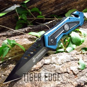 Usmc Marines Black/Blue Spring Assisted Tanto Blade Rescue Folding Knife