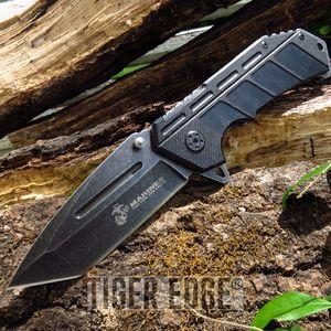 Usmc Marines Spring Assisted Black G10 Handle Tanto Blade Folding Knife