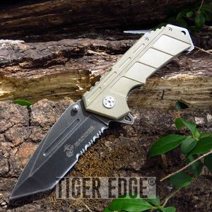 Usmc Marines Spring Assisted Tan G10 Serrated Tanto Blade Folding Knife