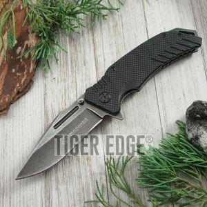 Usmc Marines Spring Assisted Folding Knife Edc Black G10 Stonewash