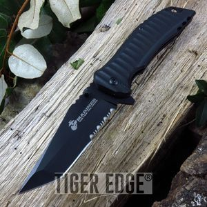 Mtech Usmc Marines Solid Black Tanto Tactical Spring Assisted Folding Knife