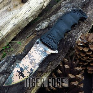 Spring-Assist Folding Pocket Knife Usmc Marines Desert Digital Camo Serrated Edc
