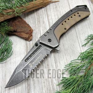Spring-Assist Folding Pocket Knife Mtech Usmc Marines Gray Serrated Blade Tan