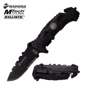 Spring-Assist Folding Pocket Knife Usmc Serrated Black Military Tactical Combat