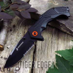 Spring-Assist Folding Pocket Knife Black Orange Usmc Serrated Tactical Blade Edc