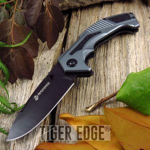 Spring-Assist Folding Pocket Knife Black Gray Usmc Serrated Tactical Blade Edc