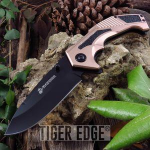 Spring-Assist Folding Pocket Knife Black Tan Usmc Serrated Tactical Blade Edc