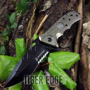 Spring-Assist Folding Pocket Knife Usmc Official Serrated Tan Tactical Blade