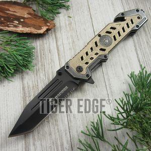 Spring Assist Folding Pocket Knife Usmc Black Tanto Serrated Blade Tan Rescue