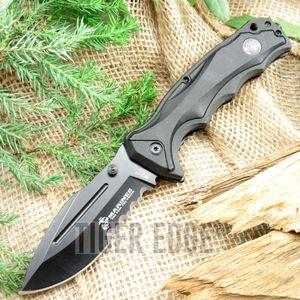 Spring Assisted Folding Pocket Knife   Mtech Usmc Marines Black Tactical Blade