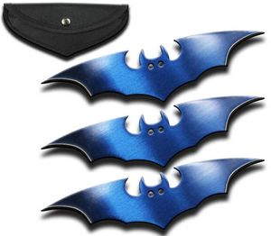 Bat Throwing Stars | 3-Pc. Metallic Blue Throwing Knife Set Shuriken + Sheath