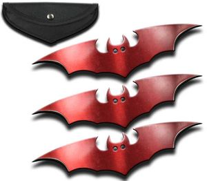 Bat Throwing Stars | 3-Pc. Metallic Red Throwing Knife Set Shuriken + Sheath
