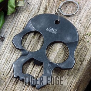 Master Collection Dark Gray Skull Bottle Opener Key Chain Brass Knuckle EDC