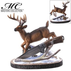 Hunting Knife | Deer Hunter Silver Blade Full Tang Skinner + Display Stand