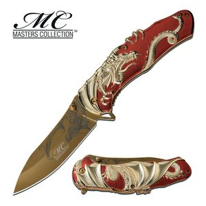 Spring-Assist Folding Knife | Red Gold Fantasy Dragon 3.5