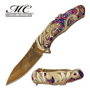 Spring-Assist Folding Knife | Gold Fantasy Dragon 3.5