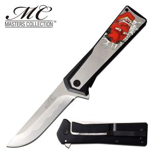Spring-Assisted Folding Knife   Japanese Demon Head 3.5