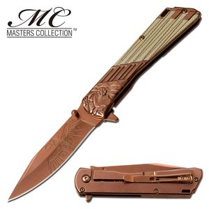 Spring-Assist Folding Knife | Copper Steel Blade Native American Eagle Chief