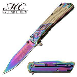 Spring-Assist Folding Knife | Rainbow Steel Blade Native American Eagle Chief