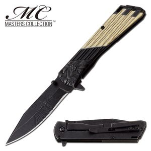 Spring-Assist Folding Knife Stone Black Steel Blade Native American Eagle Chief