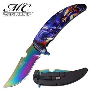 Spring-Assist Folding Knife | Rainbow Mirror Blade 4
