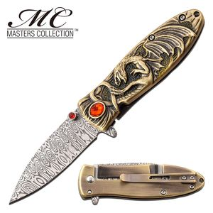 Spring-Assist Folding Knife Red Ruby Ancient Gold Enchanted Fantasy Dragon Blade