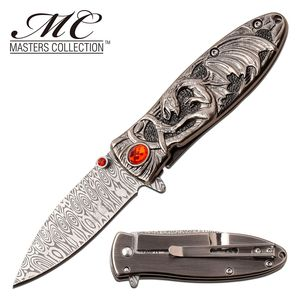 Spring-Assist Folding Knife | Red Ruby Silver Enchanted Fantasy Dragon Blade